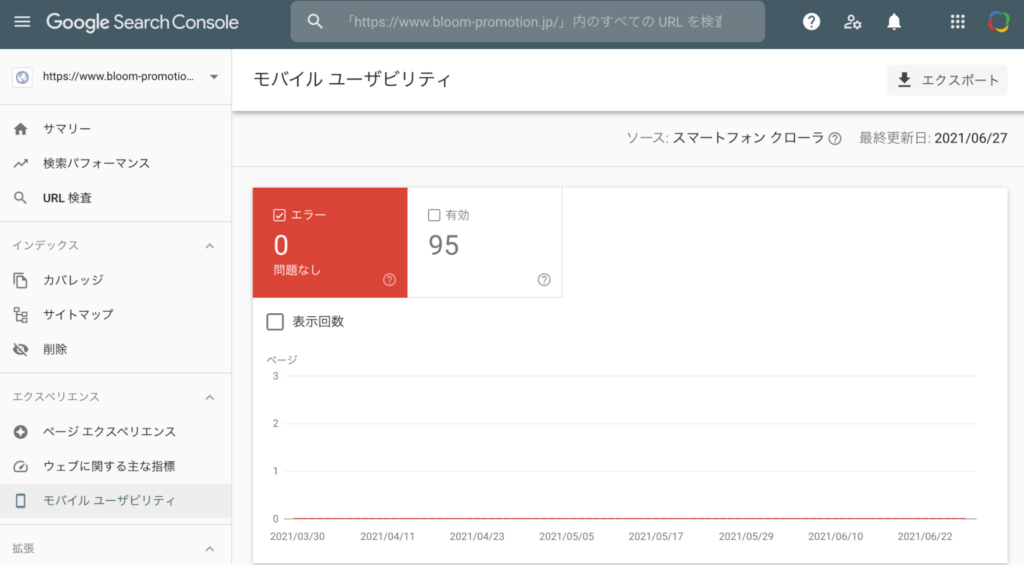 Search Console のモバイル ユーザビリティ画面